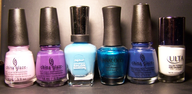Derecha a izquierda: Sweet Hook, Spontaneous, Hmalayan Blue, Mermaid Lake, First Mate y Snow White