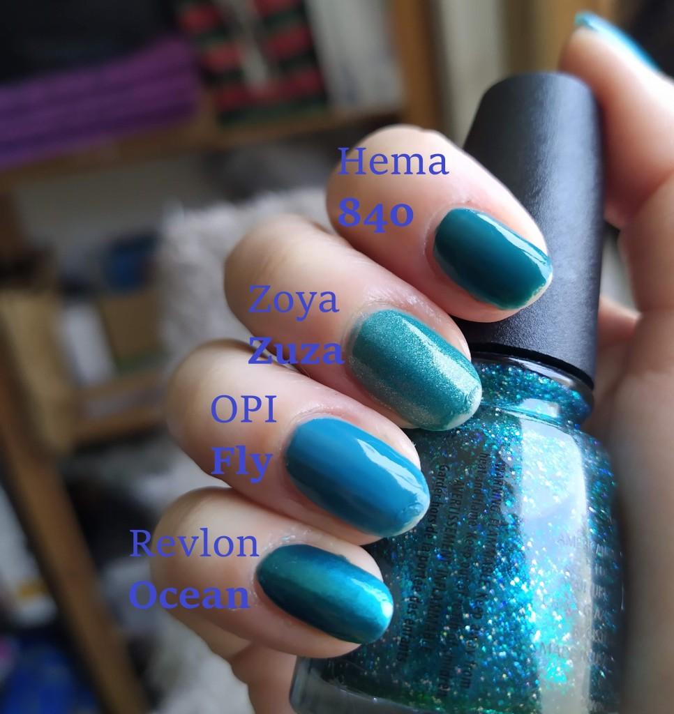 uñas pintadas con esmaltes revlon, opi, zoya y hema color verde